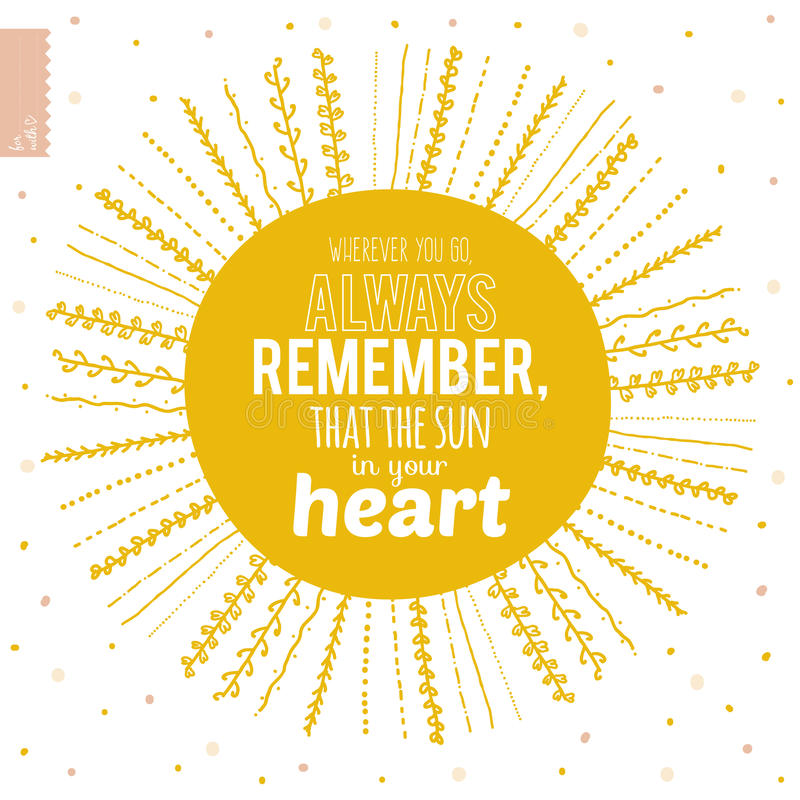 Sun Quotes: Cute Summer Card With Ornament Sun And Stock Vector