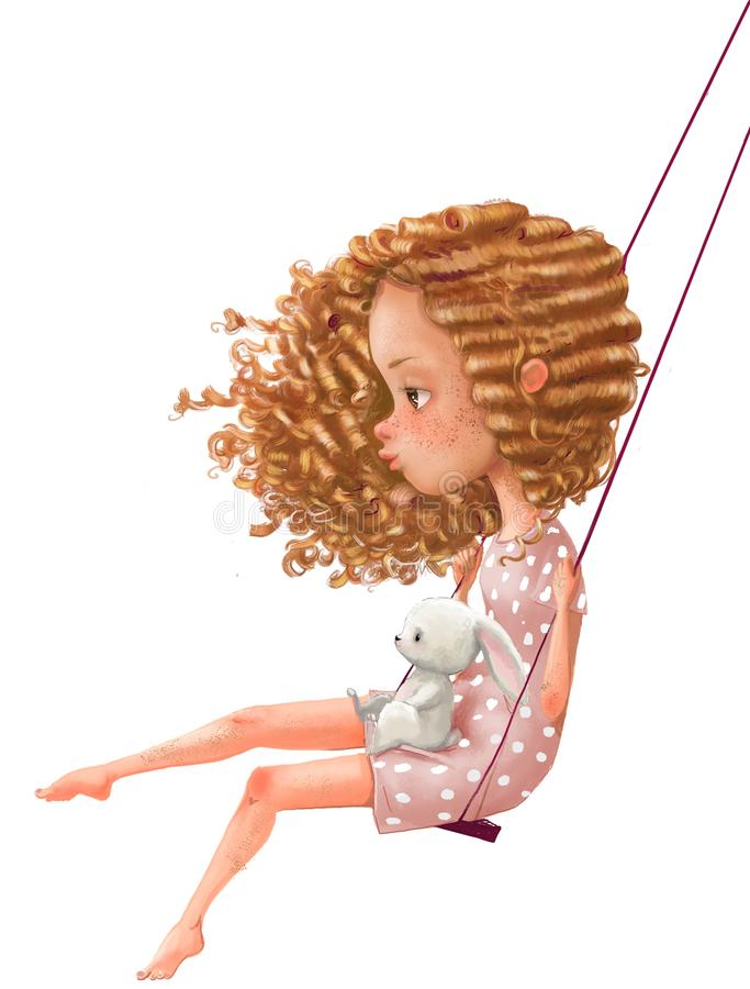 Cute cartoon girl on swing with hare stock images