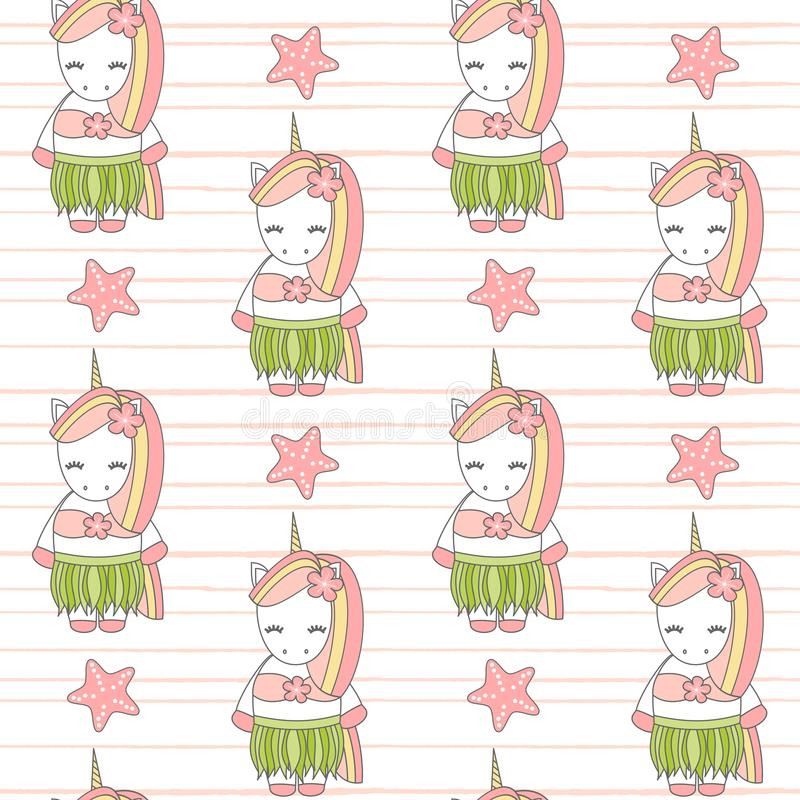 Cute lovely summer cartoon Hawaiian unicorn funny seamless vector pattern background illustration stock illustration
