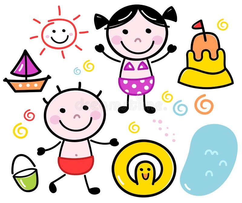 Download Cute Summer Doodle Kids Set Stock Illustration - Image: 31529073