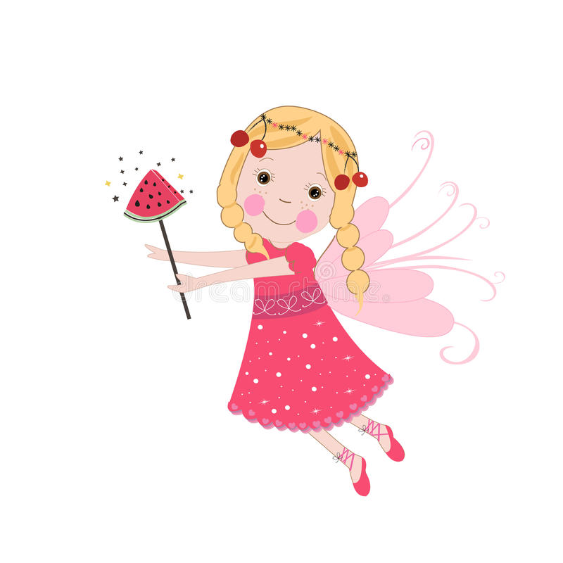 Cute summer fairy tale. Summer time vector background. Watermelon and cherry vector illustration