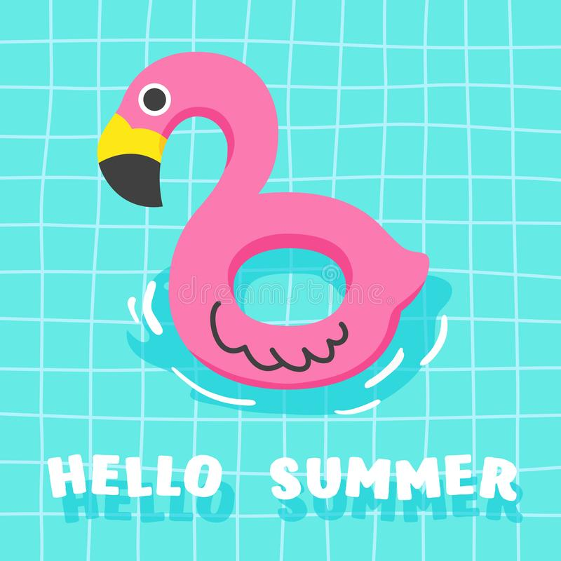Cute Summer Fancy Float im Pool Flamingo lizenzfreie abbildung