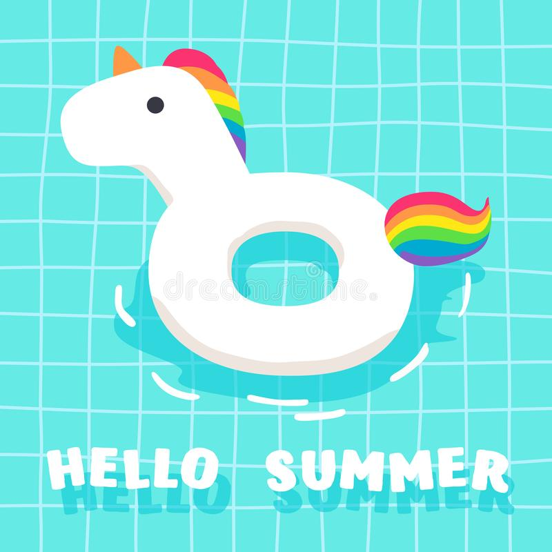 Cute Summer Fancy Float im Pool Unicorn stock abbildung