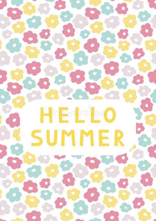 Cute summer floral card template `Hello Summer`. Pastel A6 card. Vector illustration stock illustration