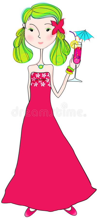 Download Cute Summer Girl With Cocktail Glass Stock Vector - Image: 26660351