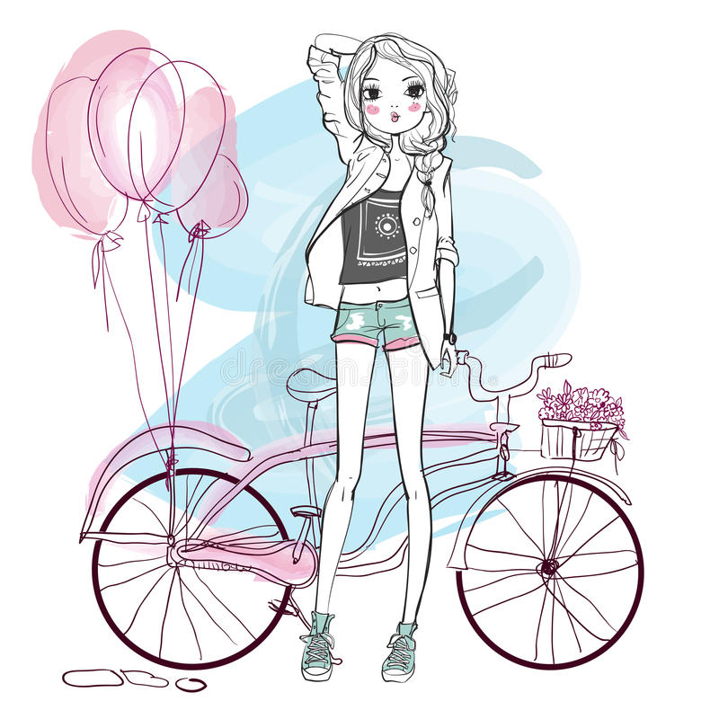 Cute summer girl stock illustration