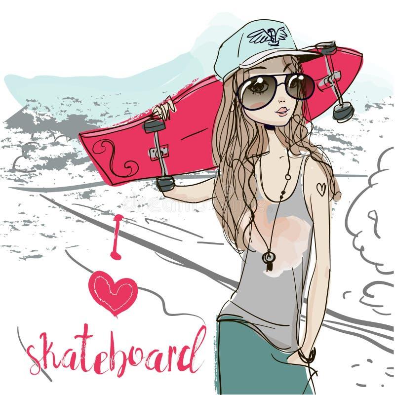 Cute summer girl vector illustration