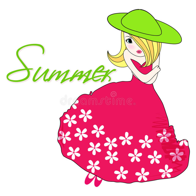 Download Cute summer girl stock vector. Image of doodle, happy - 34584996