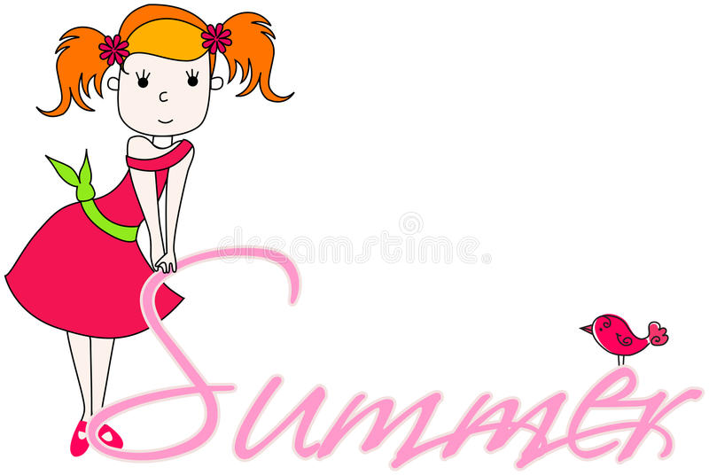 Download Cute summer girl stock vector. Image of little, colorful - 34584986
