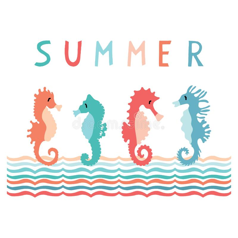 Cute summer seahorse group cartoon vector illustration motif set. Hand drawn isolated ocean animals elements clipart for nautical stock illustration