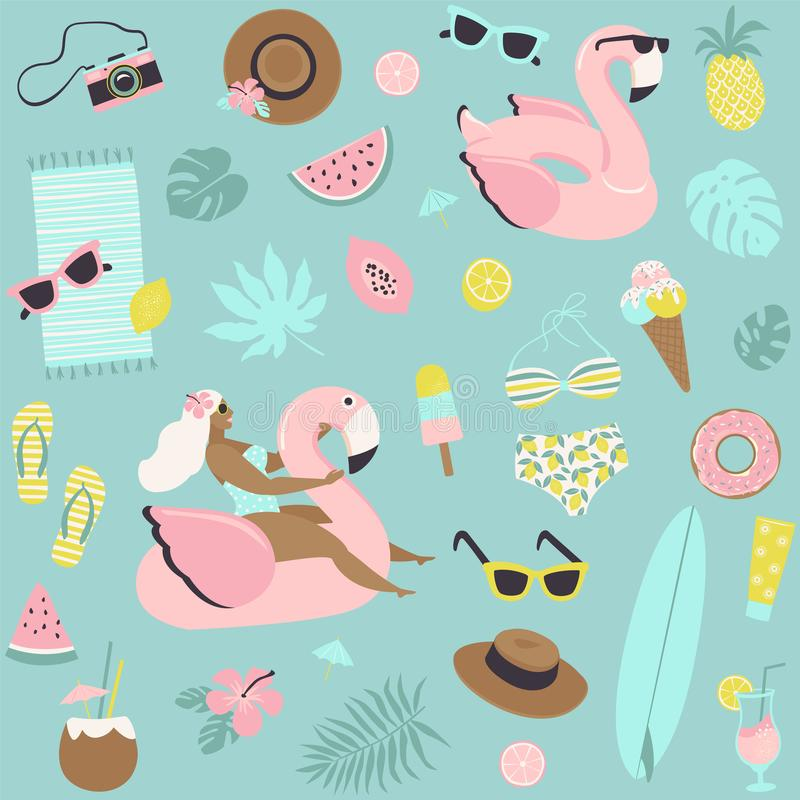 Cute summer seamless pattern fruits, drinks, ice cream, sunglasses, palm leaves and flamingo inflatable swimming pool stock illustration