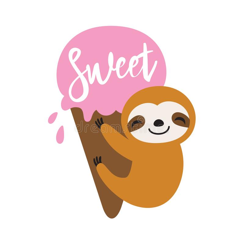 Cute Summer Sloth with Ice Cream Vector Illustration royalty free illustration