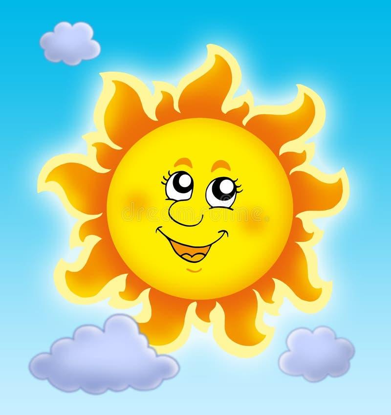 Cute Summer Sun On Blue Sky Royalty Free Stock Image