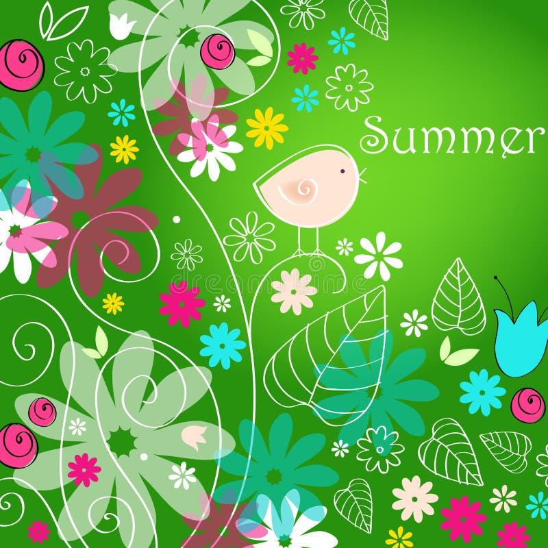 Cute Summer Text Illustration With Bird Stock Photo