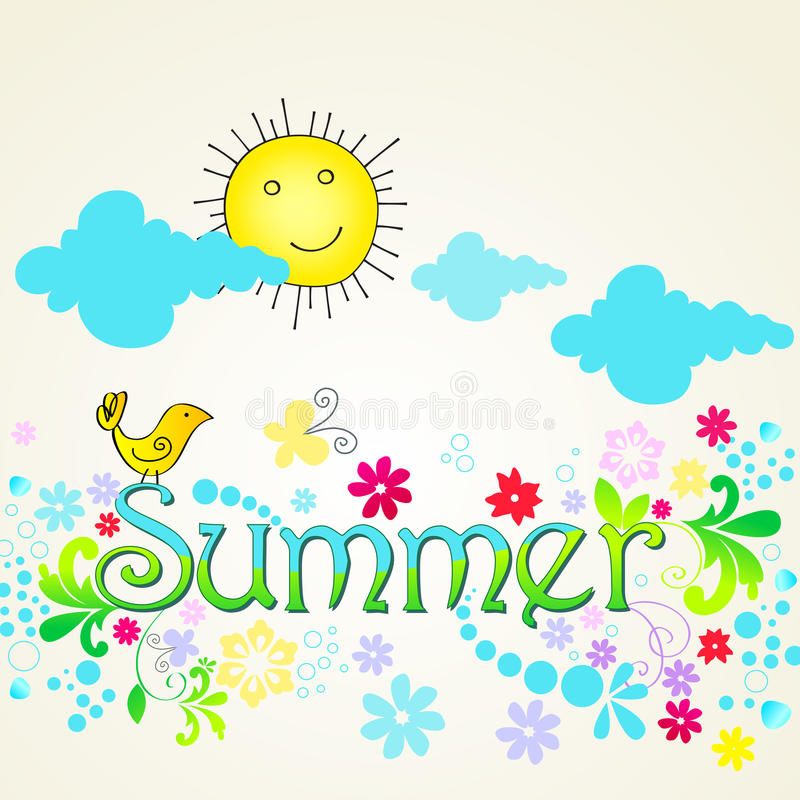 Download Cute Summer Text Illustration With Bird Stock Vector - Image: 25848874