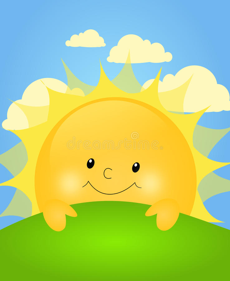 Cute sun behind green hill royalty free illustration