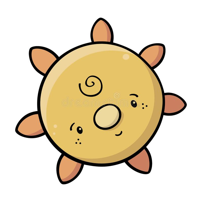 Cute sun drawing with happy facial features. Vector drawing of a cute sun smiling with flat colors and a black outline isolated on white. Can represent a vector illustration