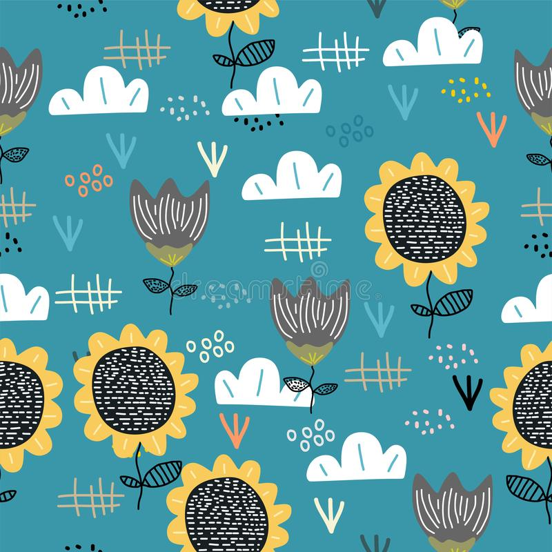 Cute sun flower seamless pattern with children drawing scandinavian art background. Botanical cartoon nature elements for baby and vector illustration
