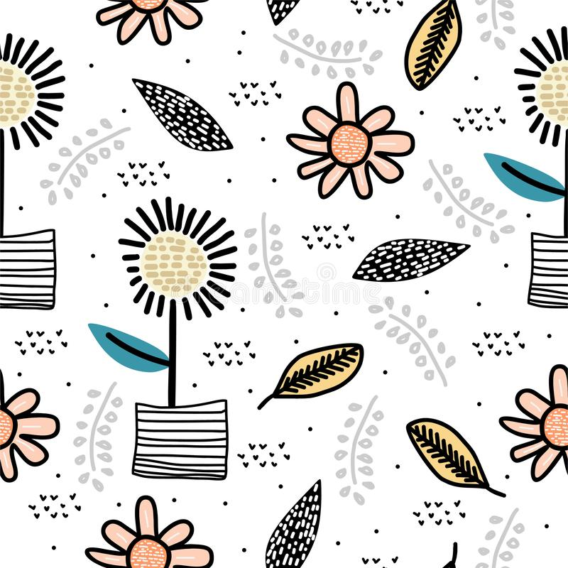Cute sun flower seamless pattern with children drawing scandinavian art background. Botanical cartoon nature elements for baby and. Kids fashion textile vector vector illustration