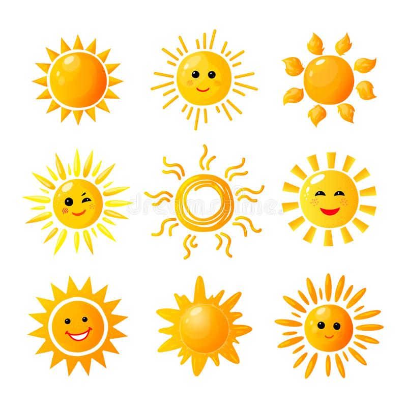 Cute sun. Hand drawn sunshine. Summer morning sunrise. Doodle vector warming joy icons vector illustration