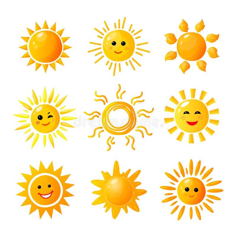 Cute sun. Hand drawn sunshine. Summer morning sunrise. Doodle vector warming joy icons vector illustration
