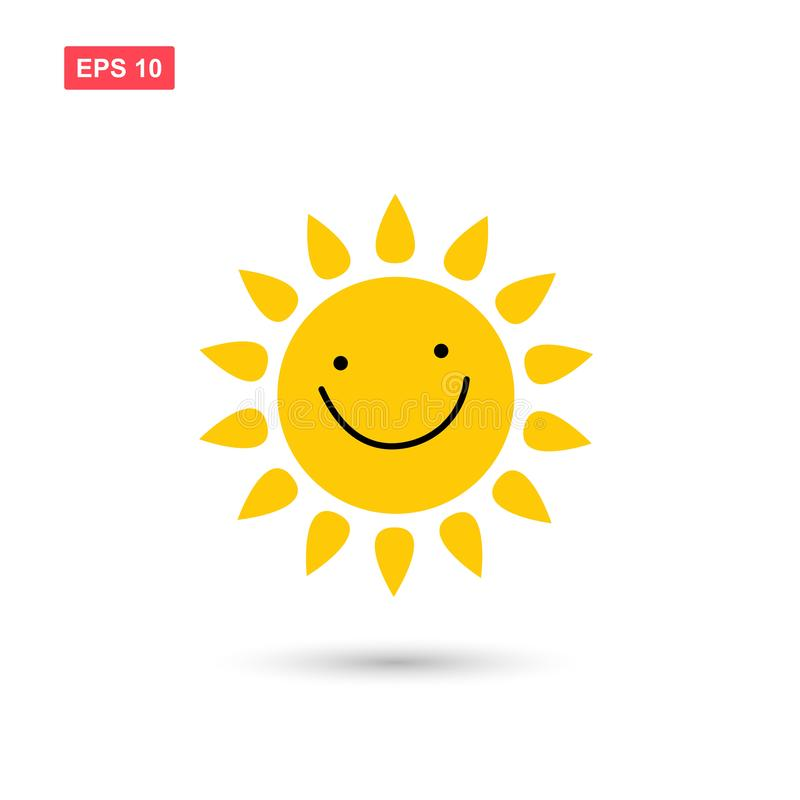 Cute sun when smile vector icon isolated. Eps10 royalty free illustration