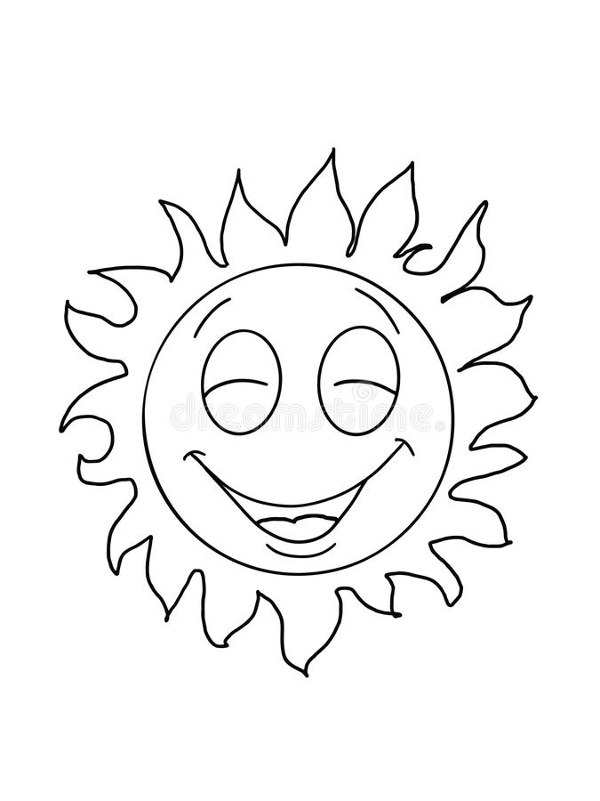 Cute sun smiling and happy illustration drawing cartoon and white background royalty free illustration