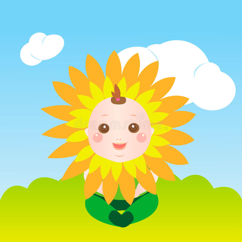Cute sunflower baby stock illustration