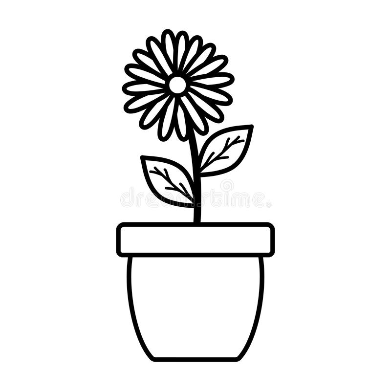Cute sunflower and leafs plant in ceramic pot. Vector illustration design stock illustration
