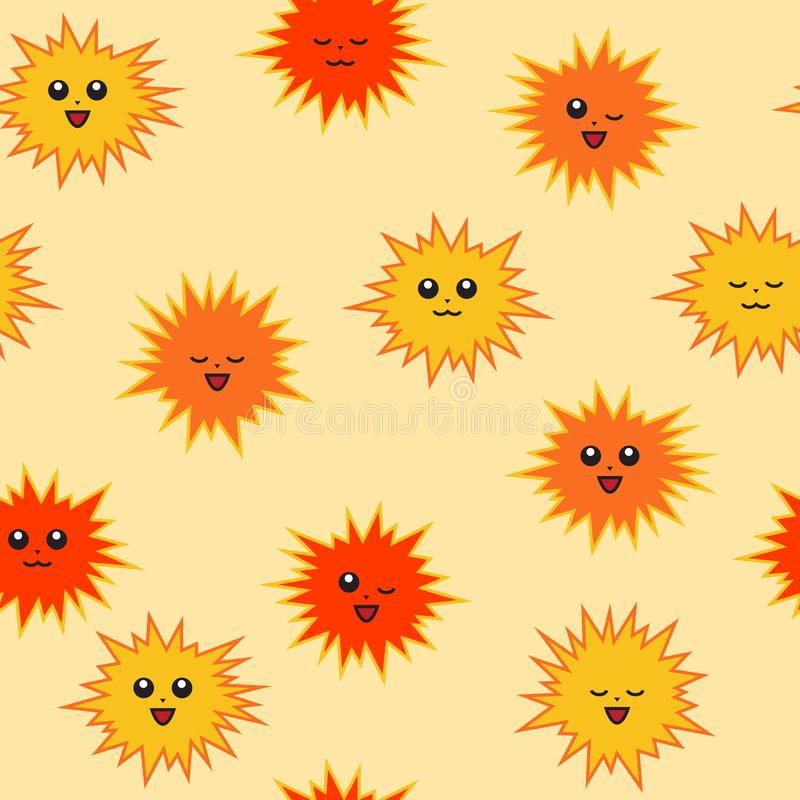 Cute suns with face. Different emotions. Bright seamless pattern royalty free stock photography