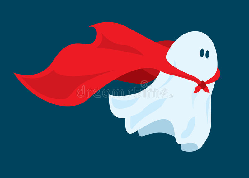 Cute super hero ghost flying with cape. Cartoon illustration of funny super hero ghost flying with costume cape stock illustration