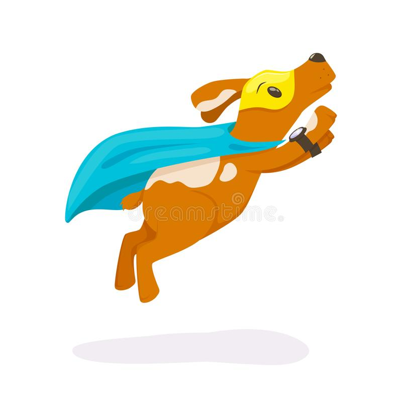 Cute superhero animal kids with a superhero cape and masks. Flying dog in super hero costume and mask on the eyes vector illustration isolated. Concept for stock illustration