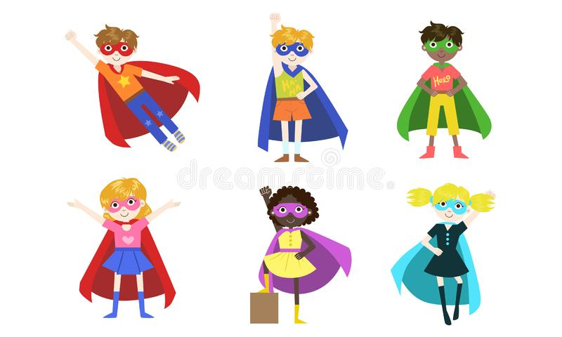 Cute Superhero Kids of Various Nationalities Set, Happy Adorable Boys and Girls in Costumes of Superhero, Capes amd. Masks Vector Illustration on White royalty free illustration