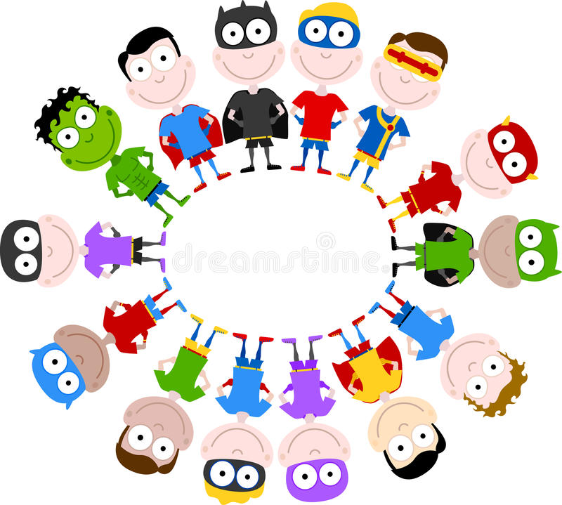 cute superheroes circle vector illustration