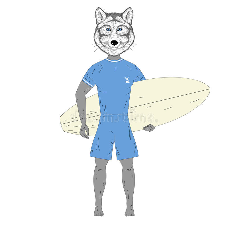 Cute surfer wolf with surfboard. Hand drawn anthropomorphic animal illustration for posters, t-shirt print, greeting stock illustration