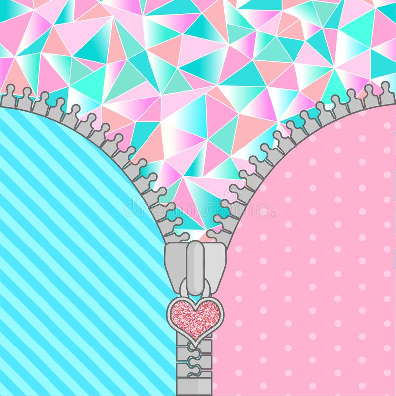 Free Cute Surprise Background With Open Zipper And Crystals. Birthday Congratulation Or Invitation Fashion Girls Party Stock Photography - 165256962