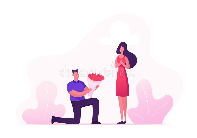 Cute Surprised Girl Happy to Get Bouquet of Beautiful Flowers from Boyfriend Standing on Knee. Couple Having Dating. Man Give Present to Girlfriend. Love Human royalty free illustration
