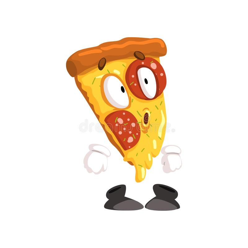 Cute surprised slice of pizza, funny cartoon fast food character vector Illustration on a white background. Cute surprised slice of pizza, funny cartoon fast stock illustration