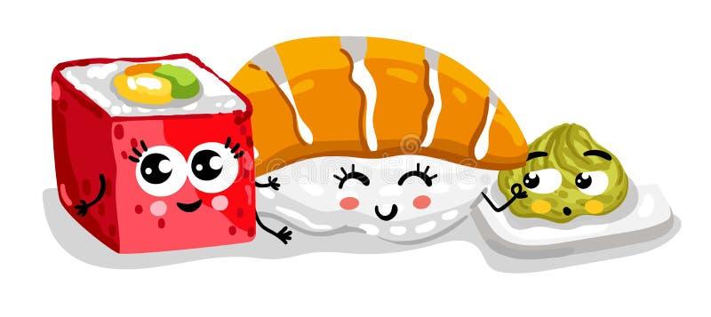 Funny sushi and sashimi set cartoon character royalty free illustration