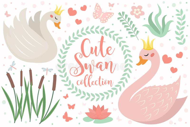Cute swan princess character set of objects. Collection of design element with swans, reeds, water lily, flowers, plants stock illustration