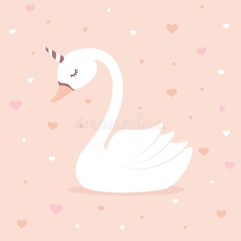 Cute swan unicorn on pink background. royalty free illustration