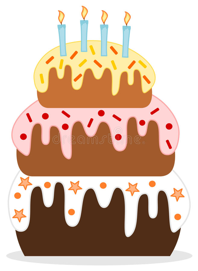 Cute Sweet Birthday Cake With Candle Stock Illustration