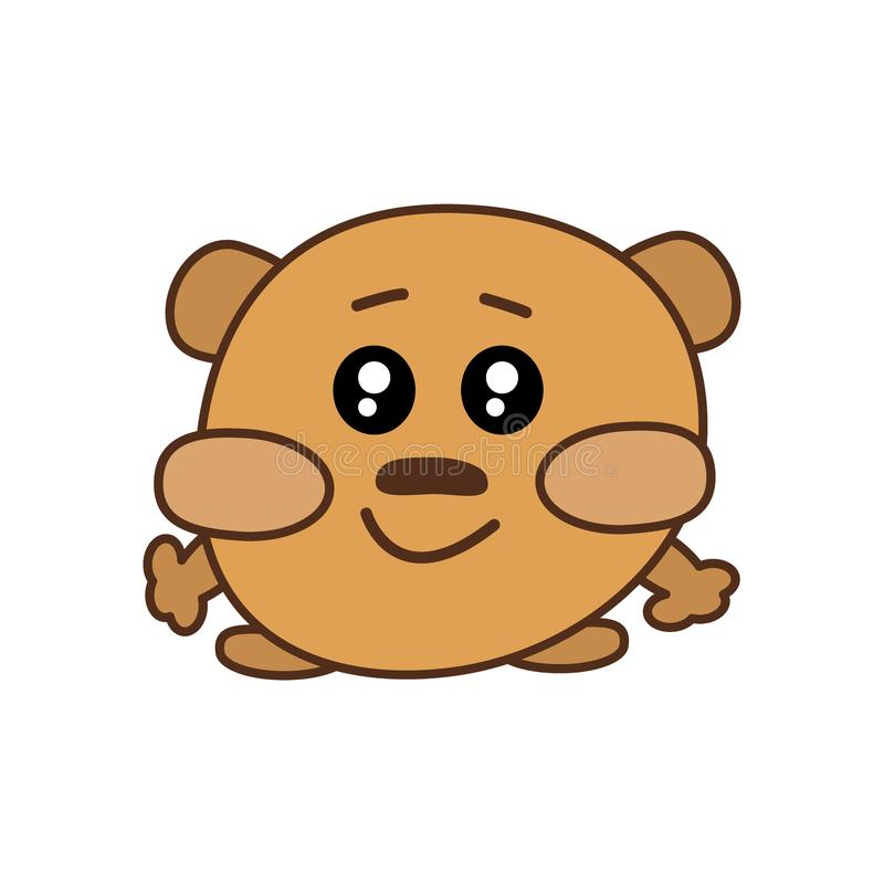 A cute sweet brown kawaii bear with big cheeks, huge open eyes stands on its paws and smiles. Vector flat icon, logo vector illustration
