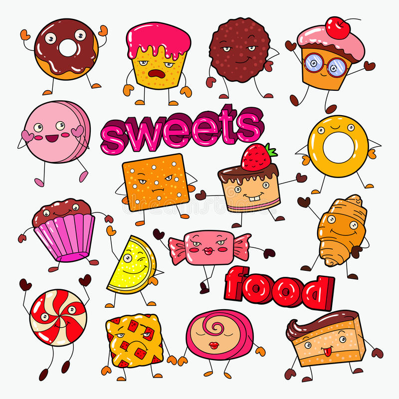 Cute Sweet Food Candy Characters Doodle with Cookie, Cupcake and Lollipop. Vector illustration stock illustration