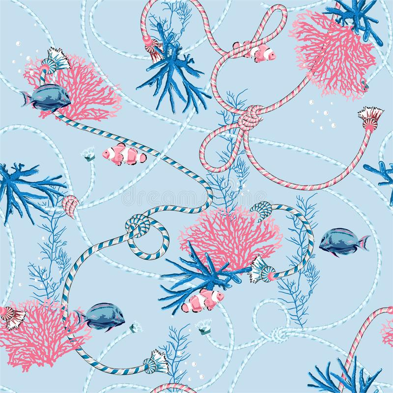 Cute sweet pastel Seamless pattern with  hand drawn corals Golden ,and treasure animal,fishes, ropes and pearls on  light blue vector illustration