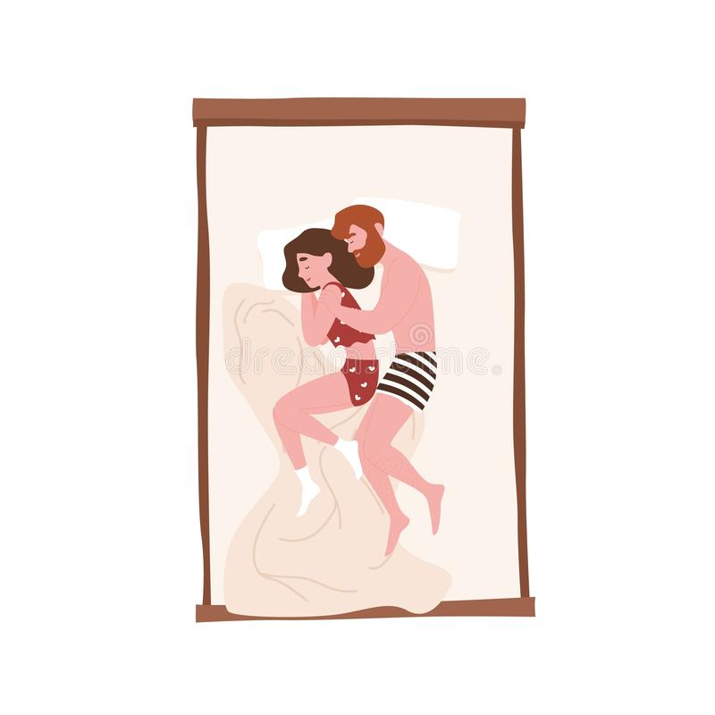 Cute sweet young couple lying in bed and cuddling or hugging. Funny man and woman sleeping at night. Girl and boy royalty free illustration
