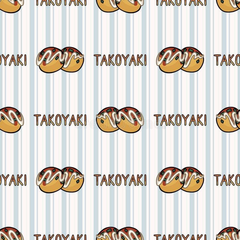 Cute takoyaki japanese bento bento con modello vettoriale senza saldatura Palle di polpo orientali disegnate a mano Kawaii royalty illustrazione gratis
