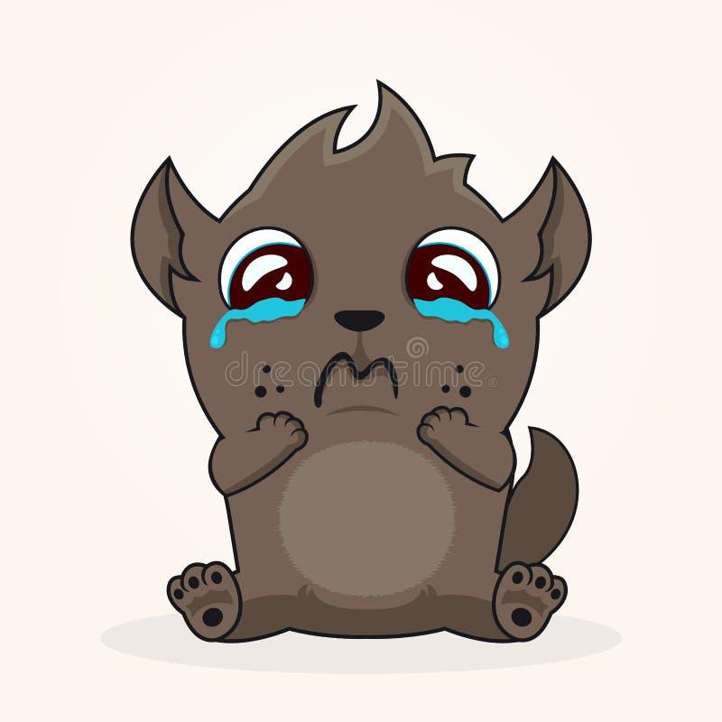 Cute Tasmanian devil. Cartoon character. Crying emotion royalty free illustration