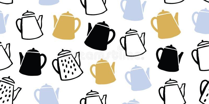 Cute tea pots seamless pattern scandinavian royalty free stock images