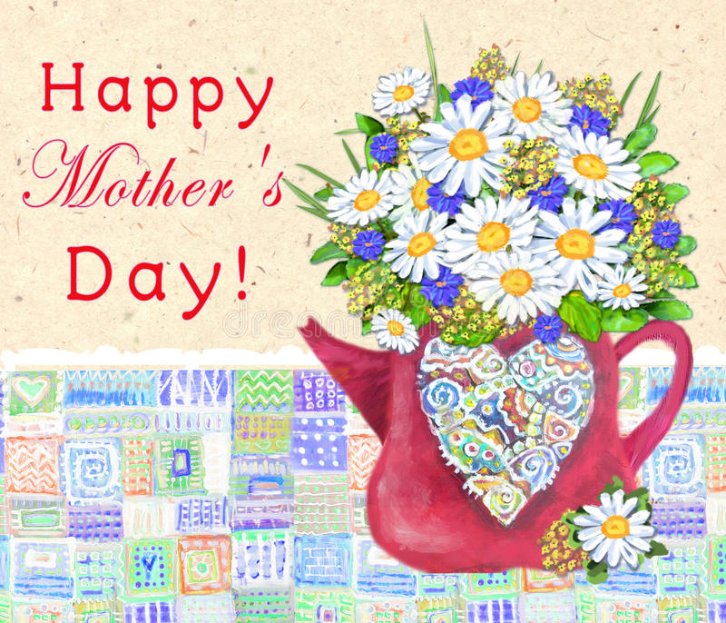 Cute teapot with abstract multicolored heart Bouquet of daisies and cornflowers. Happy Mothers day card. stock photography